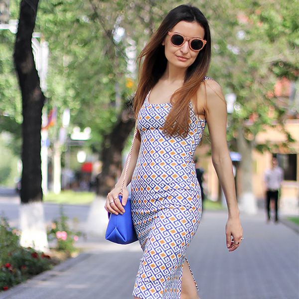 printed dress uerevan streetstyle