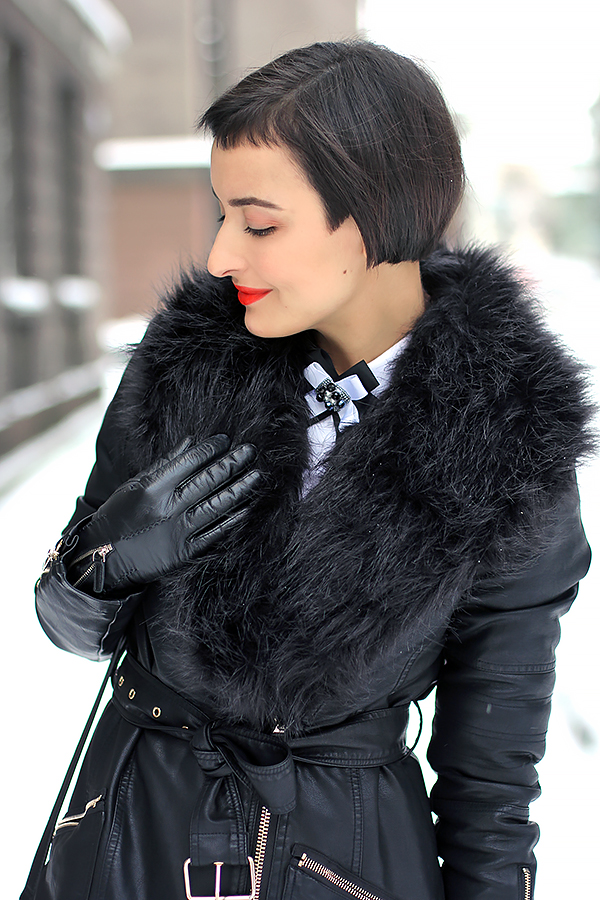 faux fur leather coat