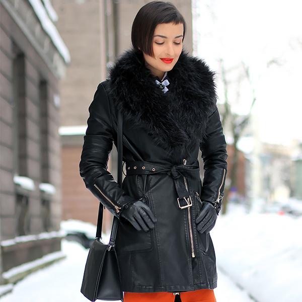 faux fur leather coat