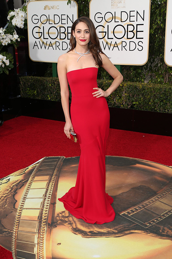 Emmy Rossum arrived in an Armani Privé