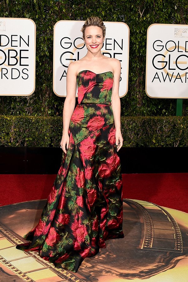 Rachel McAdams arrived wearing a Lanvin gown