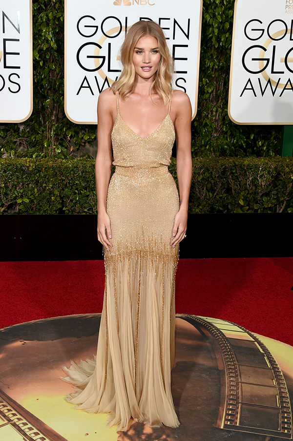 Actress Rosie Huntington-Whiteley attends the 73rd Annual Golden Globe Awards held at the Beverly Hilton Hotel on January 10, 2016 in Beverly Hills, California.