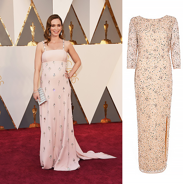 EMILY BLUNT In a Prada dress with Sophia Webster shoes and a Judith Leiber clutch.