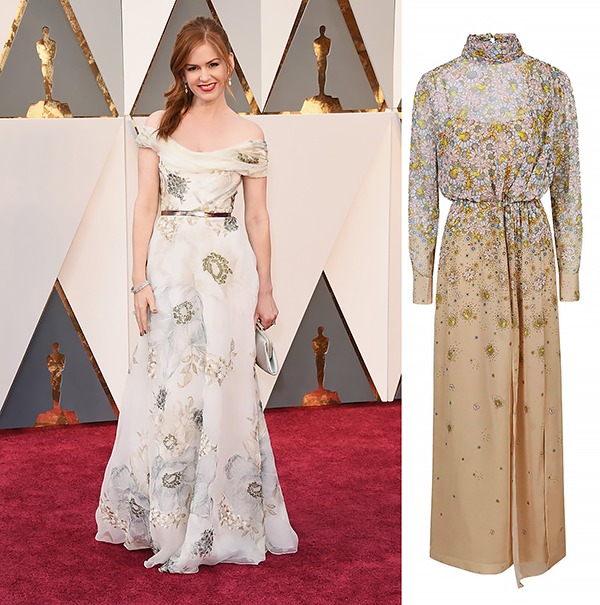 ISLA FISHER In Marchesa and a Salvatore Ferragamo clutch.