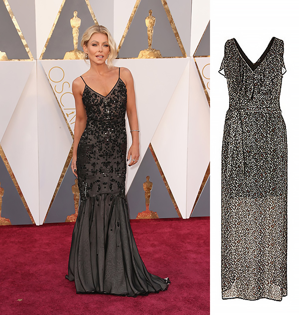 KELLY RIPA in Dennis Basso VS River Island maxi dress €55.00