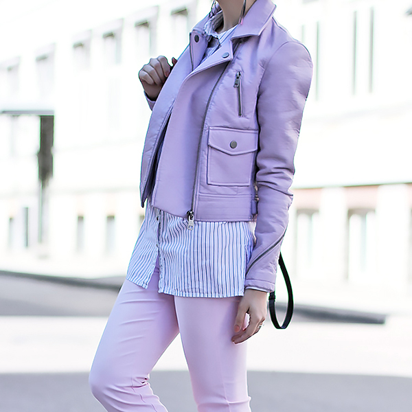 Pastel Leather Biker Jacket