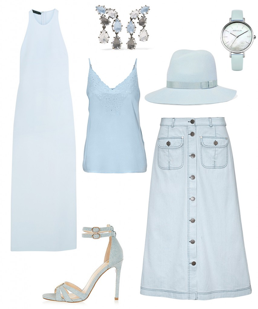 Calvin Klein Collection dress; Halens top; Cellbes skirt; River Island sandals; Rag&Bone hat; Larkspur&Hawk earrings; Karen Millen watches
