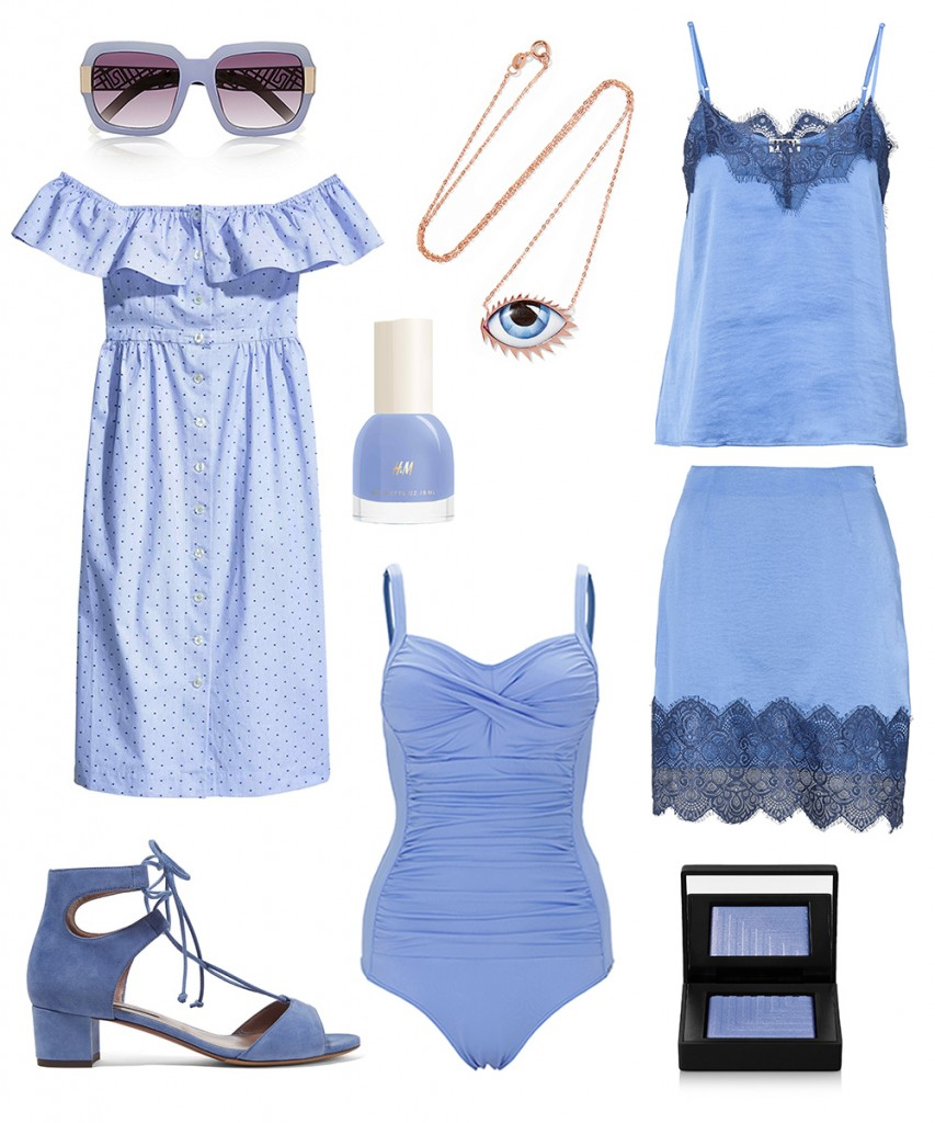 H&M dress, nailpolish; Halens top & skirt; Change swimwear; Tabitha Simmons sandals; River Island sunglasses; LITO necklace; NARS eyeshadow