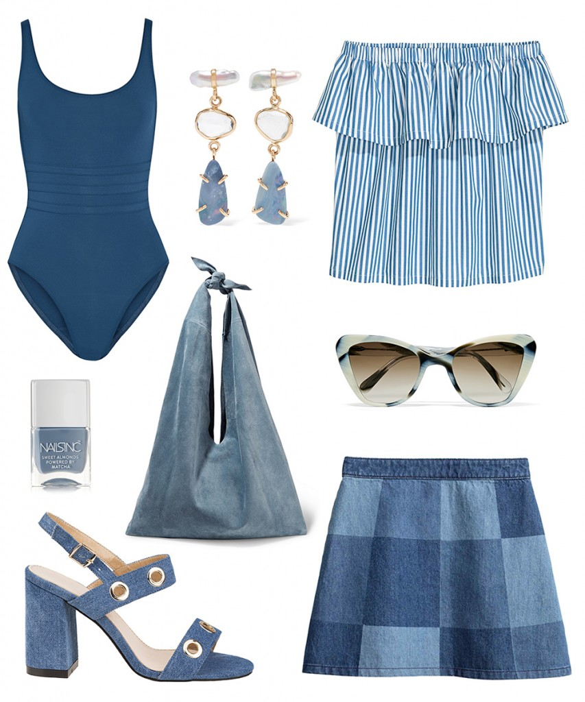 H&M skirt, top; Halens sandals; ERES swimwear; PRISM sunglasses; The ROW bag; Melissa Joy Manning earrings; NARS nailpolish