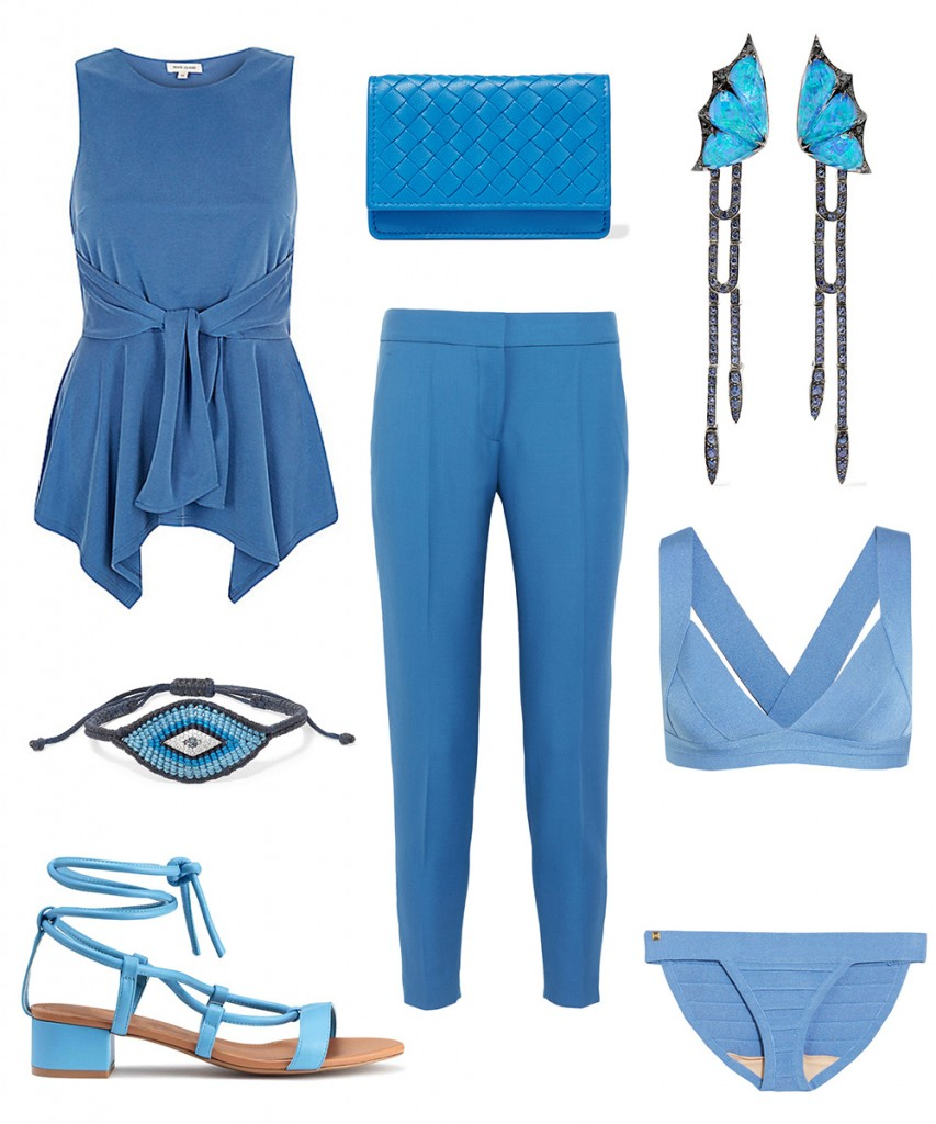 River Island top; Stella McCartney pants; Herve Leger swimwear; H&M sandals; Bottega Veneta clutch; Stephen Webster earrings; Diane Kordas bracelet