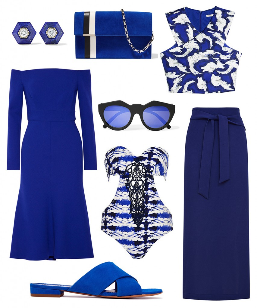 Lela Rose dress; H&M top; Marks&Spencer skirt; Mansur Gavriel sandals; River Island swimwear; Tomasini clutch; Le Specs sunglasses; Fred Leighton earrings