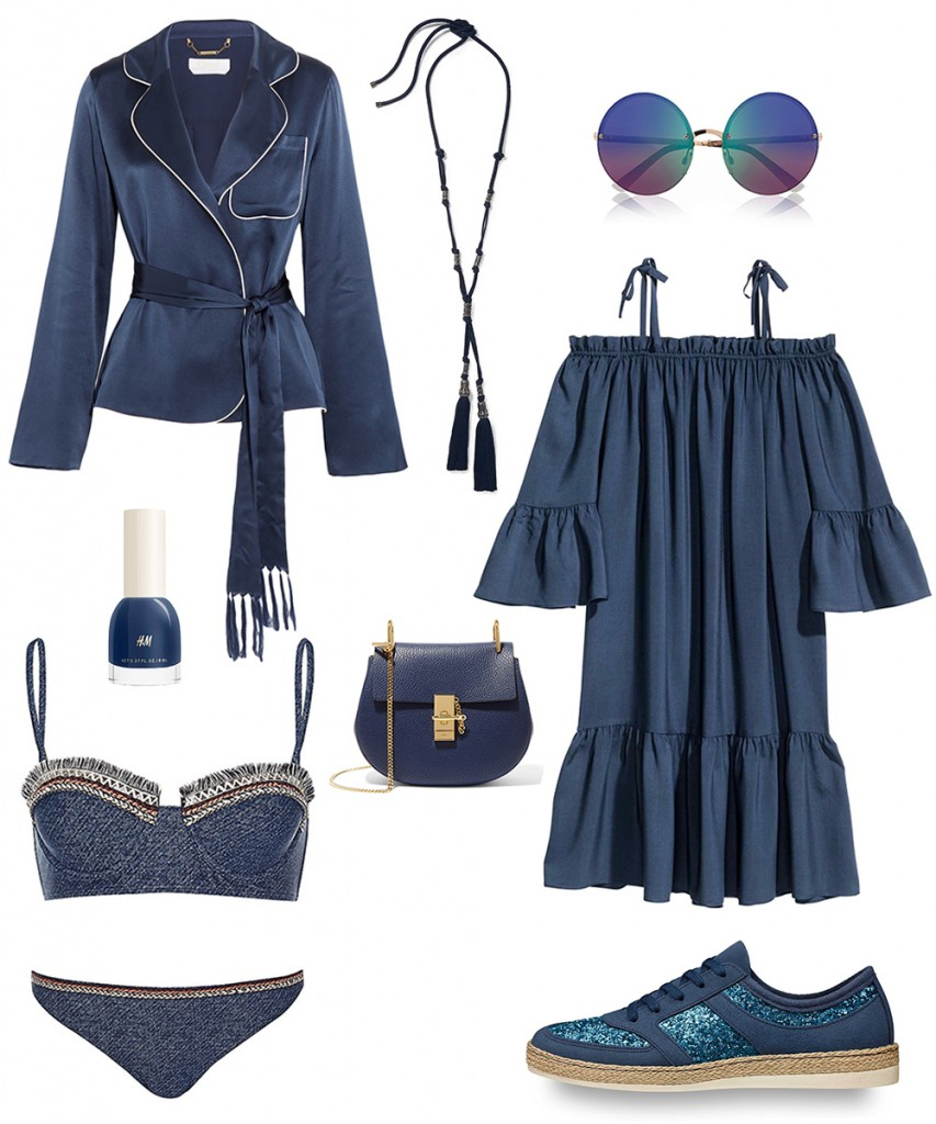 Chloe blazer, bag; River Island swimwear, sunglasses; H&M dress, nailpolish; Tamaris shoes; Lanvin necklace