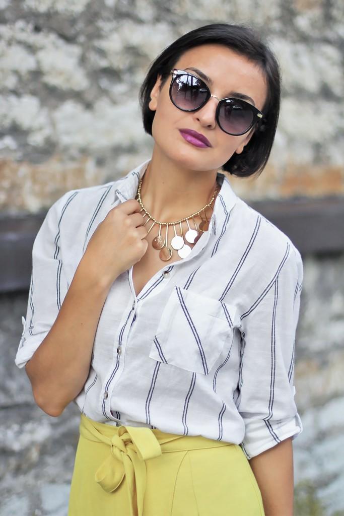 Yellow skirt white shirt 2
