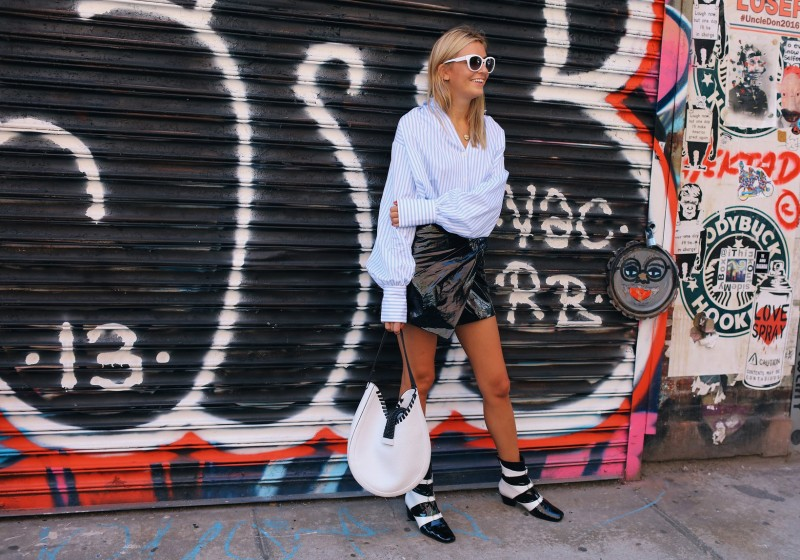 Camille Charriere in a Tome shirt, Isabel Marant skirt and Dorateymur boots