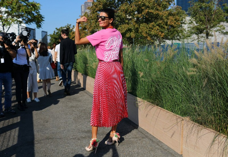 Giovanna Battaglia in a Gucci skirt and Brian Atwood shoes