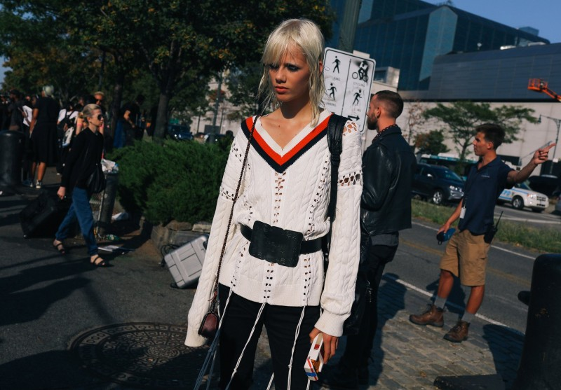 Marjan Johkman in Alexander Wang sweater and Coach 1941 belt