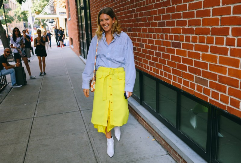 Megan Gray in Sies Marjan skirt with a Celine bag