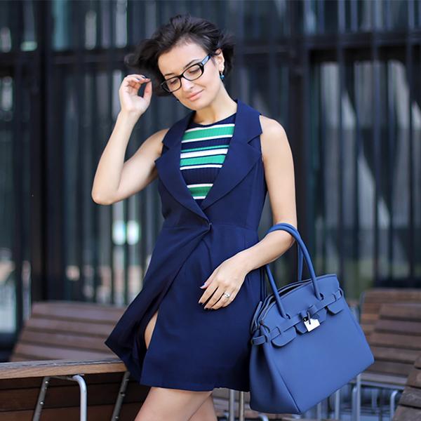 classy blue tuxedo dress