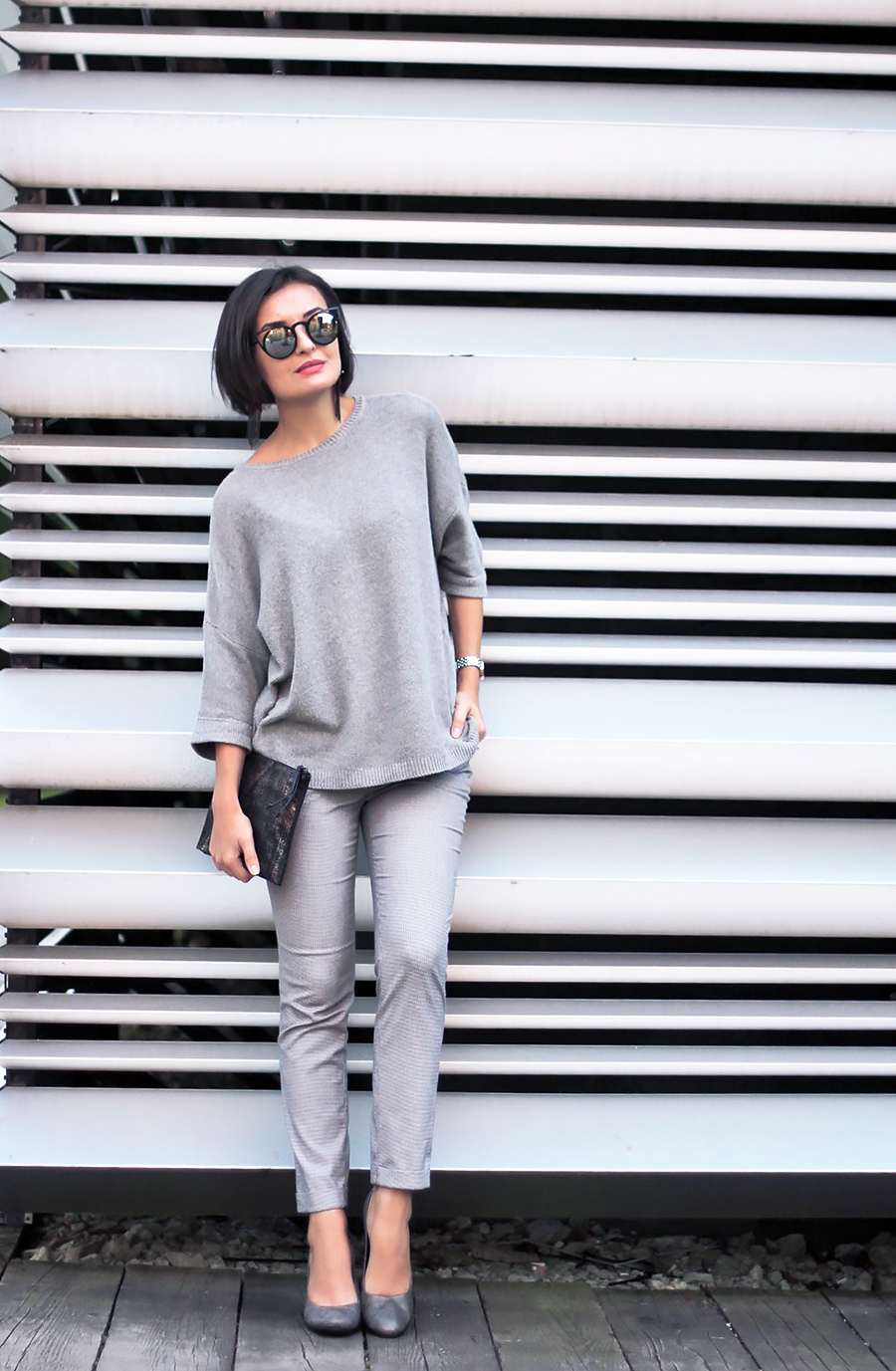 gray outfit ecco shape shoes