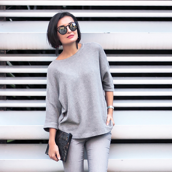 all-grey outfit