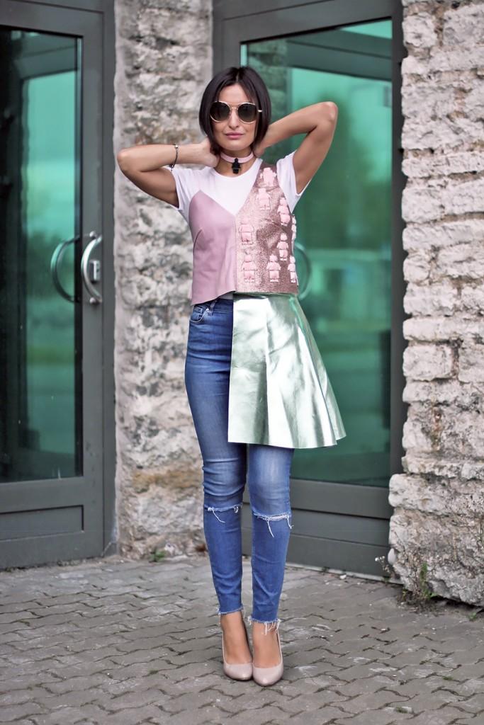 skirt over jeans