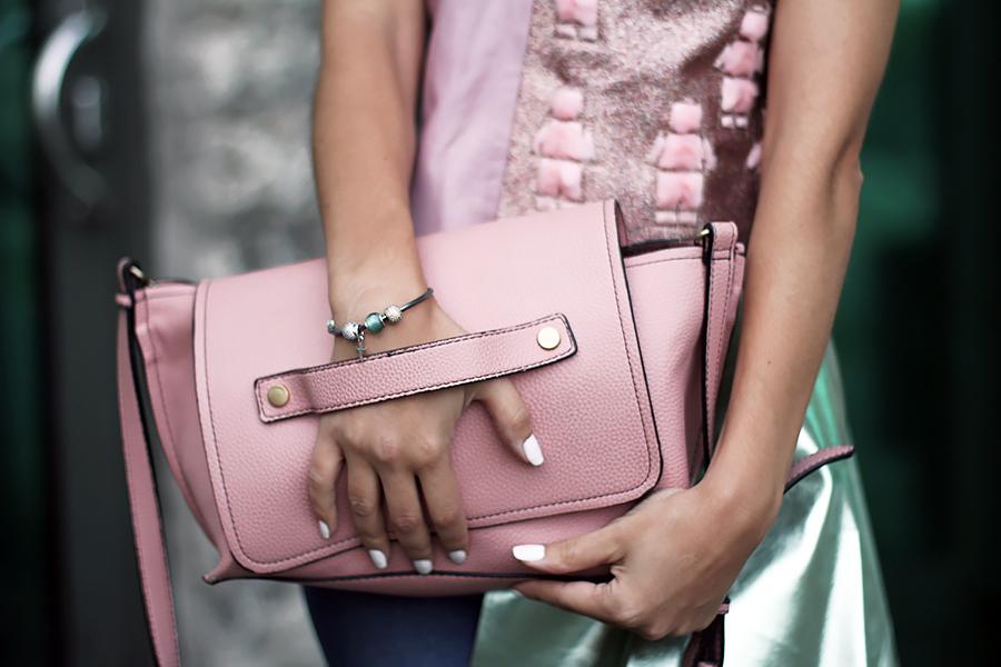 mint pale pink purse