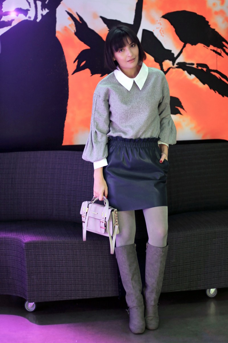 Grey Shein collar shirt 1