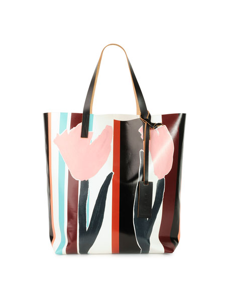 Marni Tulip Print PVC Shopping Bag