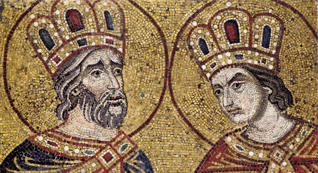 king-david-solomon-israel-byzantine-art-mosaic-gold-crowned