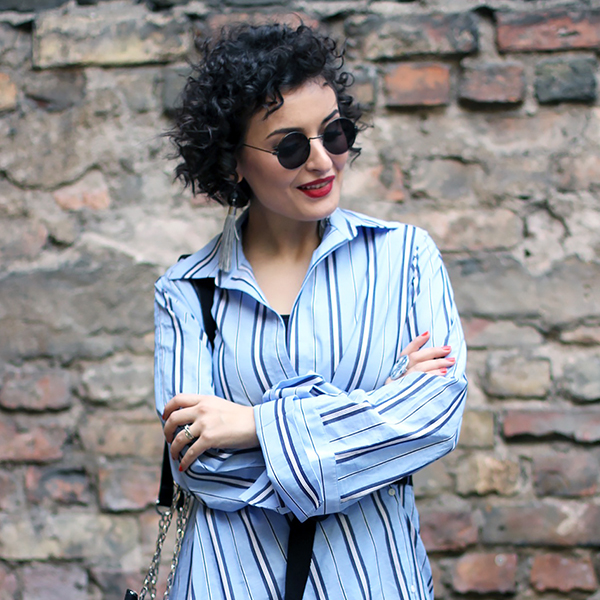 Striped & Oversized Shirtdress
