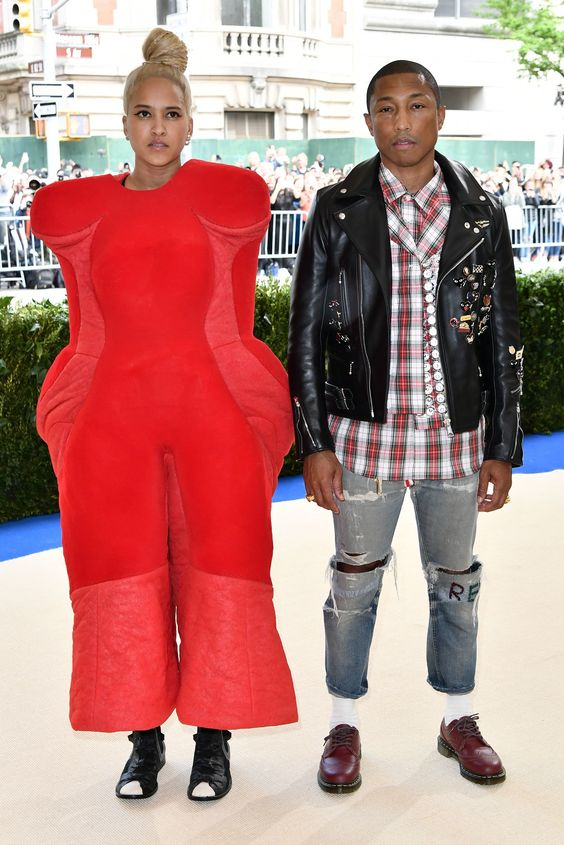 Pharrell Williams and Helen Lasichanh in Comme des Garçons