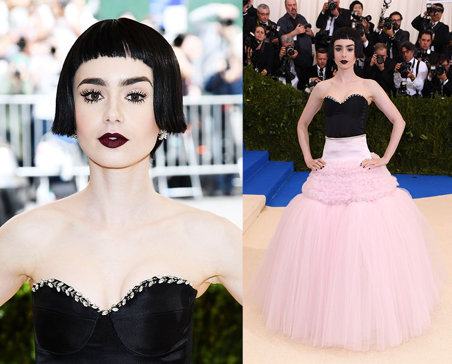 lily collins in giambattista valli and tiffany jewelry met