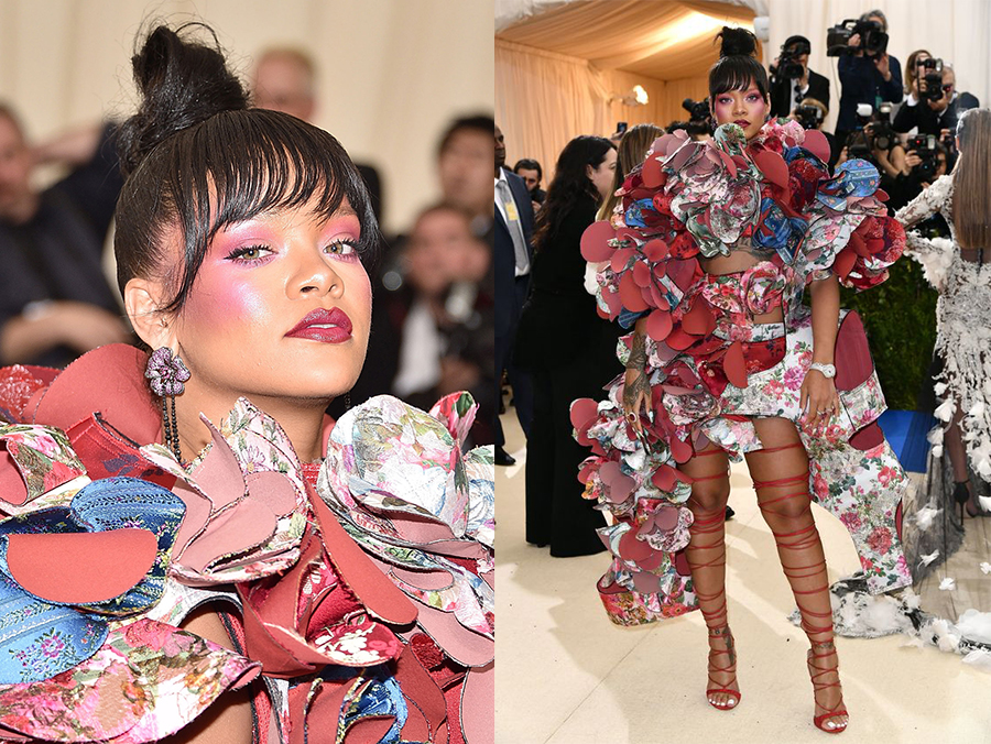 rihanna in comme des garcons dress and rihanna loves chopard jewelry