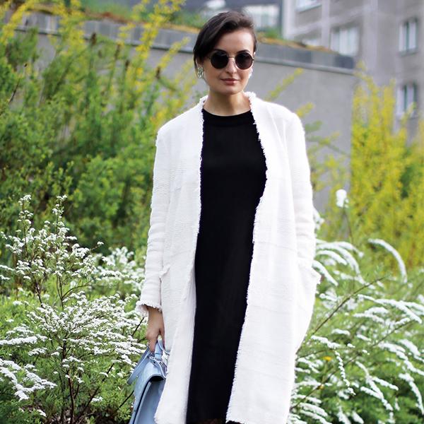 white coat black dress