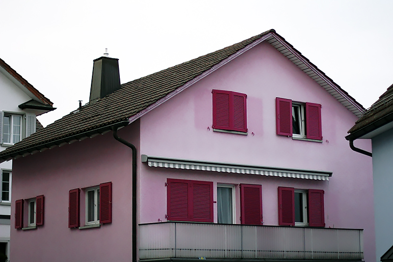 pastel pink house