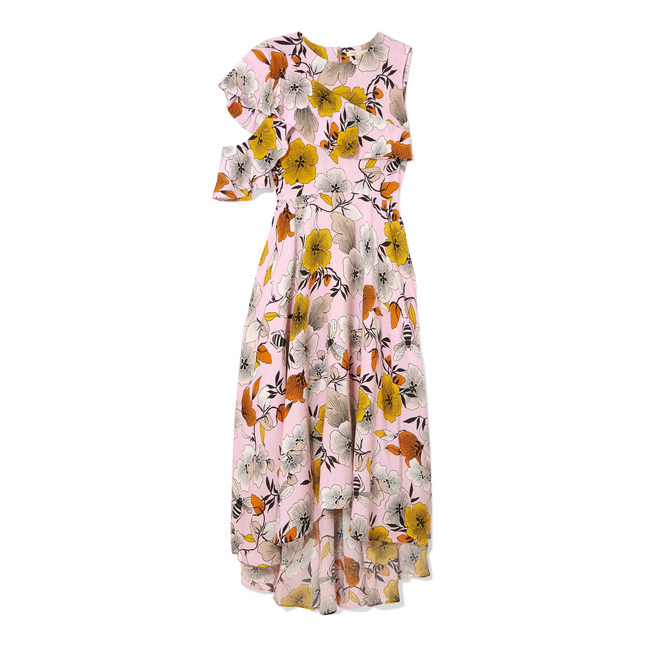 MAJE One-shoulder floral-print crepe midi dress€275