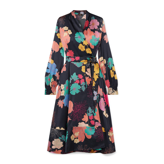 STINE GOYA Reflection floral-print silk-blend satin wrap dress€540