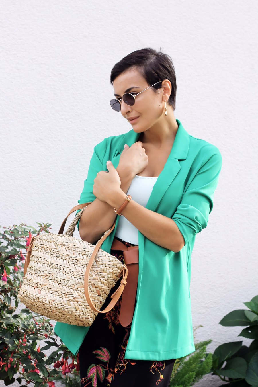 Green blazer look 4