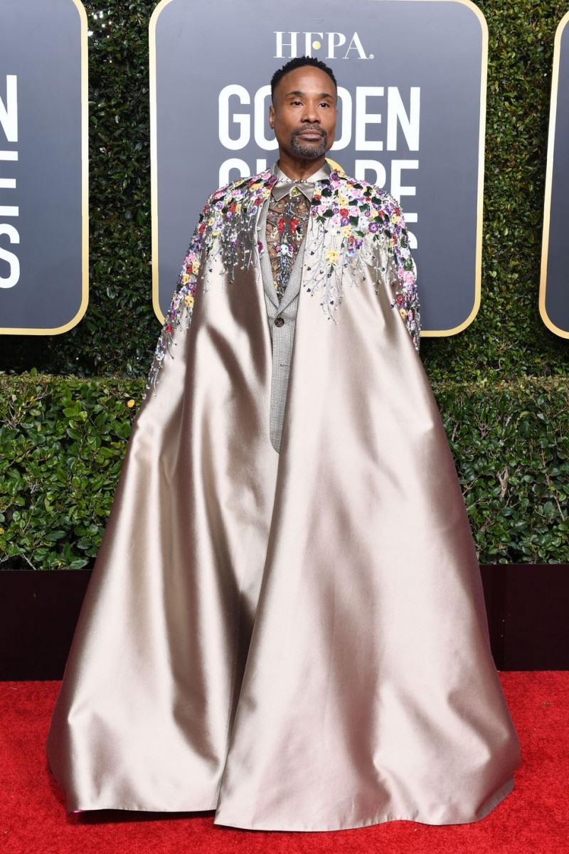 Billy Porter In a custom Randi Rahm suit with a matching cape